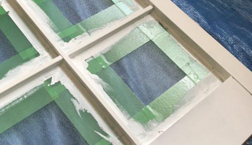 木製枠の引き戸をペイント塗装
